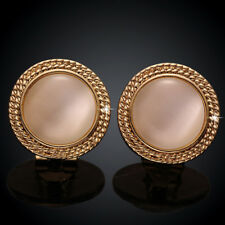 Classic 18K Yellow Gold Filled Round Cat's Eye Stud Earrings