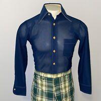 Vtg 60s 70s Disco Shirt ARROW Scrambler Stretch Polyester Navy retro MENS SMALL