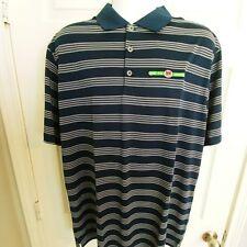 Men's Nike Golf Polo Shirt XL Dry Fit Tour Performance Blue White Striped NWT