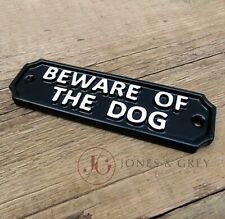 BEWARE OF THE DOG SIGN CAST METAL VINTAGE IRON STYLE BLACK AND WHITE GATE WALL