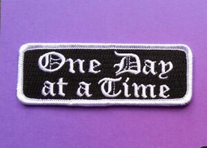 One Day at a Time Iron on Patch message cope mental health Gothic script Goth