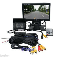 "Car Rear View Parking Kit 7"" TFT LCD Monitor+IR Truck Bus Trailer Backup Camera"
