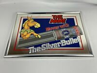 """1990 Army Moves Mule Coors Light Silver Bullet 18"""" x 13"""" Mirror Bar Sign Vintage"""