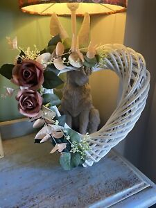 Heart Shaped Wreath Dusky Artificial Flower Rose Wedding Decor Hanging Door Pew+