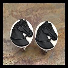 New Cufflinks Black White Horse 🐴 Head Godfather Modern Resin Cameo P19