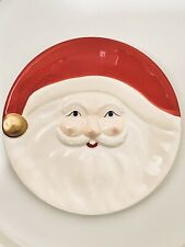 CHRISTMAS NOVELTY CERAMIC SANTA CLAUS FACE PLATTER, COOKIE, PLATE, SERVING ~ NEW
