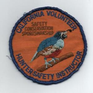 """California """"Hunter Safety Instructor"""" Quail Jacket Patch, Used"""