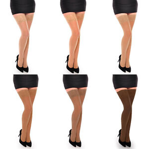 Aurellie Women Classic Everyday Hold-Up Stockings Shades of Nude Sheer 20 Den
