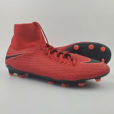 Nike Hypervenom Phelon 3 DF FG Soccer Cleats Men's Size 12 US 46 EU Red Black