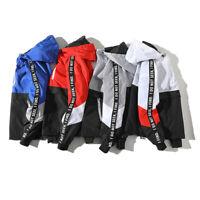 Mens Hooded Windbreaker Hip hop Jacket Cool Casual Vintage Streetwear Track Coat