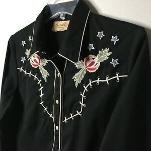 SCULLY Womens M BLACK EMBROIDERED SKELETON COWBOY L/S PEARL SNAP WESTERN SHIRT