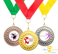 10 x Dance Medals Personalised With Your Logo + Ribbon FREE DELIVERY