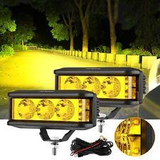 "AUXBEAM 5"" LED Work Light Bar Spot Pods Amber Fog Driving Lamp + Wiring Harness"
