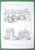 ARCHITECTURE PRINT : France Castles at Langeasi, Brissac, Azey le Rideau