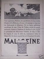PUBLICITÉ 1920 CRÈME MALACEÏNE PHILODERMIQUE PARIS MONPELAS PARFUMEUR CHIMISTE