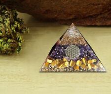 Amethyst,Tiger Eye Orgone Pyramid Crystal Energy Generator EMF Protection Reiki