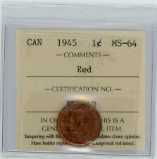 1945 Canada One Cent - ICCS MS-64, Red Cert#NU843