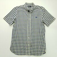 Fred Perry Mens Shirt SMALL Blue Regular Fit Check Cotton