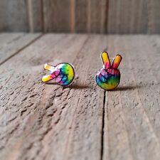 Peace Sign Stud Earrings. 100 % Plastic for Sensitive Ears.