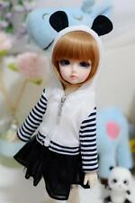 05#Girl White&Black 2pc Strip Hoodie/Dress/Outfit 1/4 MSD AOD DOD DZ BJD Dollfie