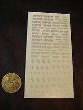 DECALS 1/43 - 1/32- 1/24 - 1/18 TEXTE ET CHEVAL FERRARI (argent) -  T21