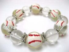 "Clear Baseball Sport Glass Stretch Bracelet 7.5"" New w Gift Bag"