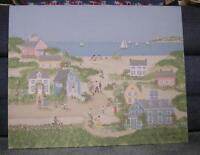 VILLAGE NAUTICAL COAST BEACH FOLK ART OCEAN GARDEN SAIL BOATS VICTORIAN PAINTING