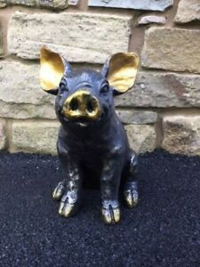 Elegant Pig Garden Ornament Statue bronze effect