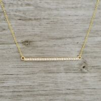 antique Jewellery 0.45CT D/VSS1 CUT DIAMOND BAR NECKLACE IN 18K YELLOW GOLD OVER