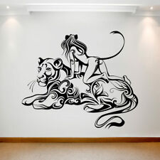Large Wall Decal Sticker Art Removable Waterproof Transfer Girl Cat Panther UK