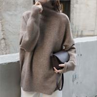 Damen Rollkragenpullover Pulli Strickpullover Pullover Loose SweaterHOT