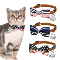 Bowknot Small Dog Puppy Pet Cat Collar & Tag Engraved Soft for Chihuahua Yorkie