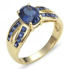 Halo Womens Size 8 Blue Sapphire Band 10KT Gold Filled Bridal Engagement Rings