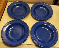 "Set of 4 Vintage Dark Blue and White Graniteware Enamelware Soup Bowls 9"" Dia"