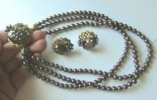 Vintage UNSIGNED MIRIAM HASKELL ? Faux PURPLE PEARL NECKLACE + EARRINGS