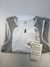 Nwt 2Xu Men's Compression Tri Singlet Mt2087a White/Grey Size S