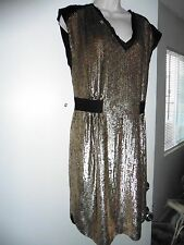 Rebecca Taylor Sequined Gold/Black V-neck Dress Sz 10 NWT$595