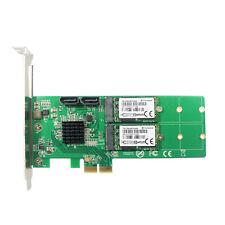 PCI-e to 2x Ports SATA 3.0 6Gb/s Dual B key M.2 NGFF SSD RAID 0 1 HyperDuo Card