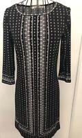Ladies MAX STUDIO  Black White Floral Tunic Dress Extra Small 8 10