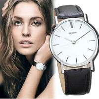 GENEVE Fashion Womens Leather Band Analog Quartz Casual Dress Wristwatches Gift