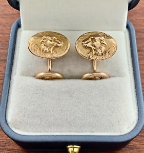 ANTIQUE SOLID 14K YELLOW GOLD FIGURAL TIGER CUFFLINKS