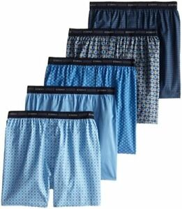 Hanes Men's 5-Pack Printed Woven Exposed Waistband Boxers,, Print, Size Small YU