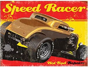 Speed Racer Hot Rod Small Steel Sign 200mm x 150mm (og)