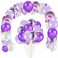 60Pcs Purple White Confetti Balloon Happy Birthday Ballon For Party Decoration