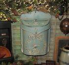 Primitive Antique Vtg Style Robin Egg Blue Bird Tin Metal Hanging Mail Post Box