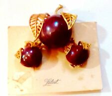 Vintage Art Deco Red Cherry Brooch and Clip Earring Set on Card Never Used