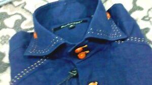 NWT Bogosse men's size 3 or medium short sleeve button down shirt,detailed stitc