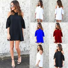 UK Womens Sundress Chiffon Cold Shoulder Strappy Jumper Mini Summer Shirt Dress