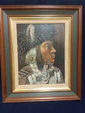 Native American Indian Portrait Vintage 70s Original Oil Painting by Ken Sowell