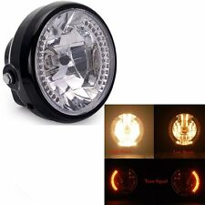 "7"" MOTORCYCLE BLACK PROJECTOR TURN SIGNAL LIGHT BULB HEADLIGHT for Harley"
